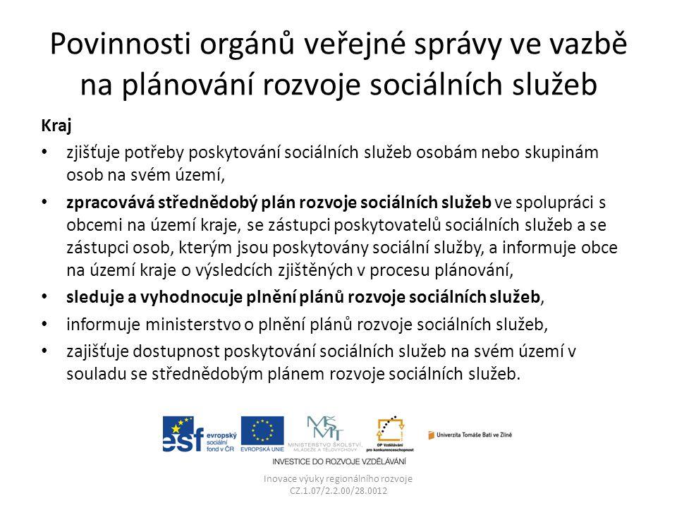 Povinnosti orgánů veřejné správy ve vazbě na plánování rozvoje sociálních služeb Kraj zjišťuje potřeby poskytování sociálních služeb osobám nebo skupi