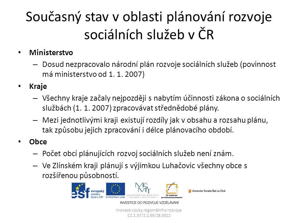 Současný stav v oblasti plánování rozvoje sociálních služeb v ČR Ministerstvo – Dosud nezpracovalo národní plán rozvoje sociálních služeb (povinnost má ministerstvo od 1.