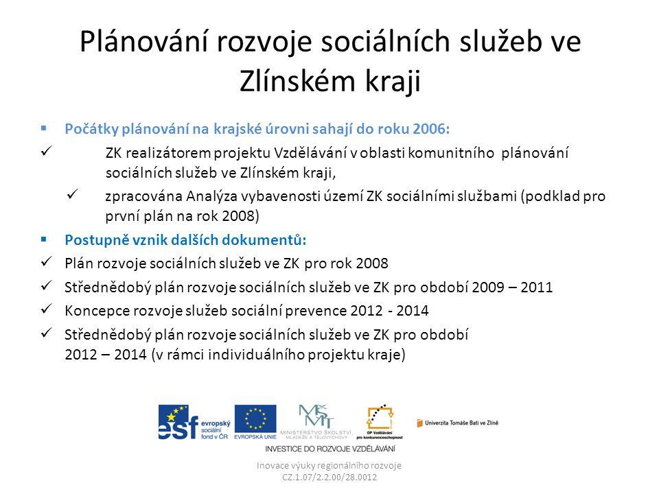 Plánování rozvoje sociálních služeb ve Zlínském kraji  Počátky plánování na krajské úrovni sahají do roku 2006: ZK realizátorem projektu Vzdělávání v