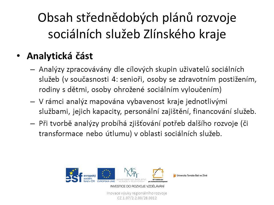 Obsah střednědobých plánů rozvoje sociálních služeb Zlínského kraje Analytická část – Analýzy zpracovávány dle cílových skupin uživatelů sociálních sl