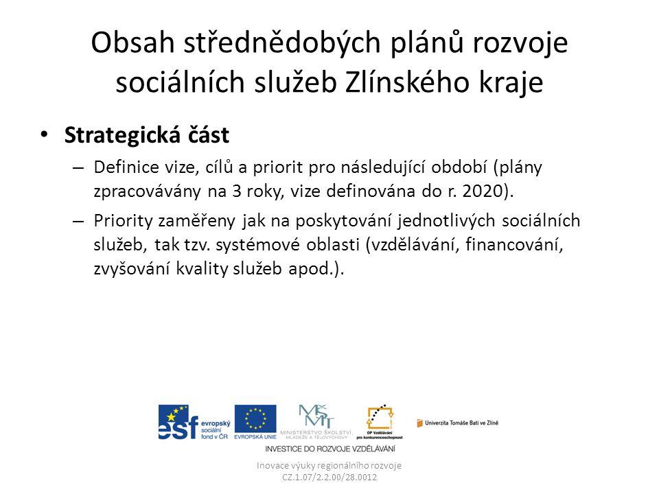 Obsah střednědobých plánů rozvoje sociálních služeb Zlínského kraje Strategická část – Definice vize, cílů a priorit pro následující období (plány zpracovávány na 3 roky, vize definována do r.