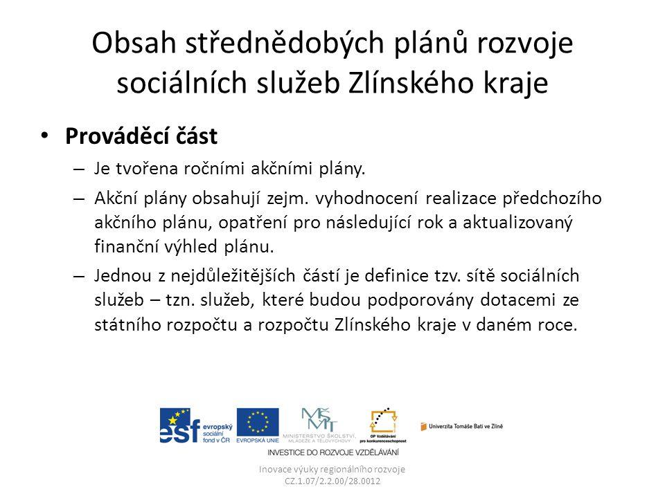 Obsah střednědobých plánů rozvoje sociálních služeb Zlínského kraje Prováděcí část – Je tvořena ročními akčními plány. – Akční plány obsahují zejm. vy