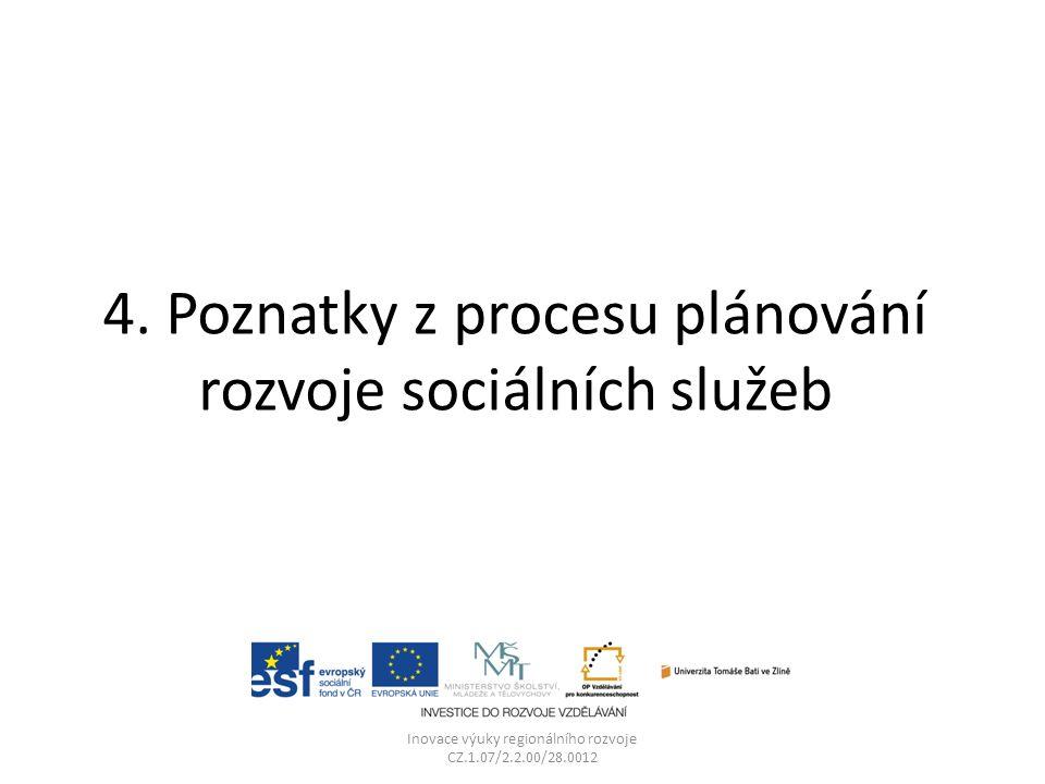 4. Poznatky z procesu plánování rozvoje sociálních služeb Inovace výuky regionálního rozvoje CZ.1.07/2.2.00/28.0012
