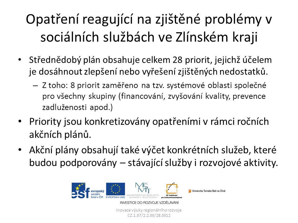 Opatření reagující na zjištěné problémy v sociálních službách ve Zlínském kraji Střednědobý plán obsahuje celkem 28 priorit, jejichž účelem je dosáhnout zlepšení nebo vyřešení zjištěných nedostatků.