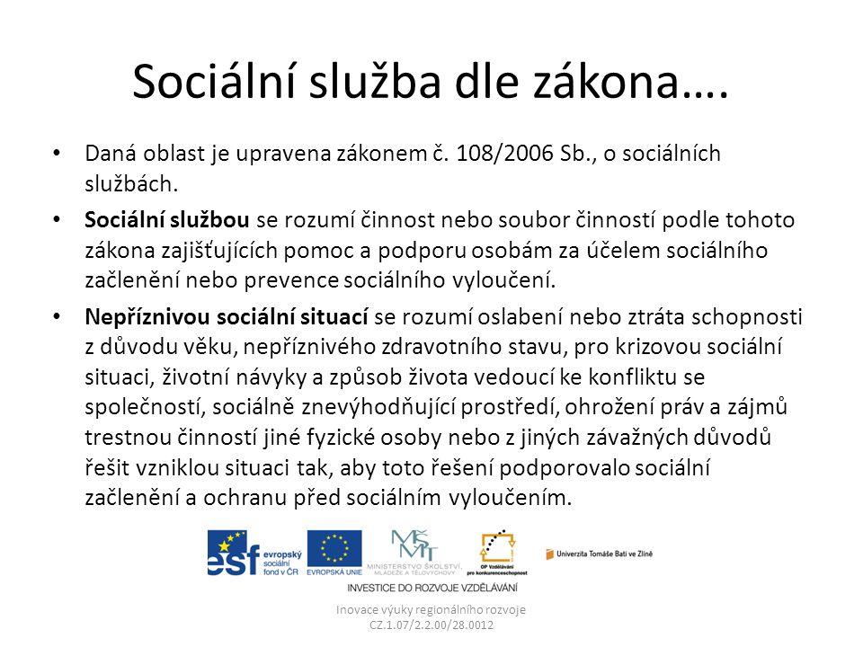Sociální služba dle zákona…. Daná oblast je upravena zákonem č. 108/2006 Sb., o sociálních službách. Sociální službou se rozumí činnost nebo soubor či