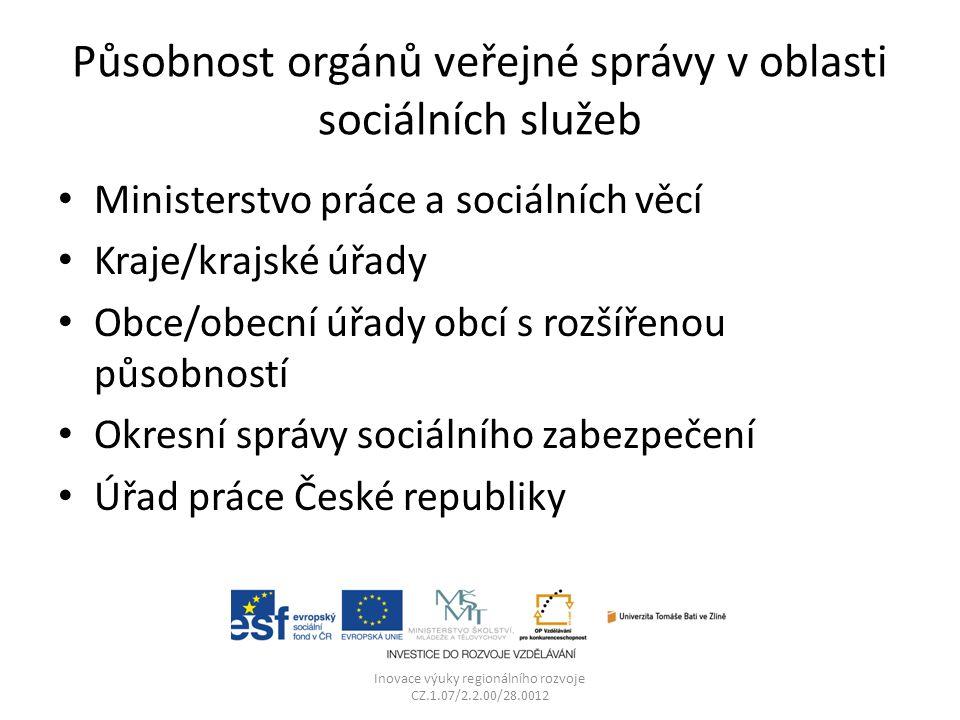 Působnost orgánů veřejné správy v oblasti sociálních služeb Ministerstvo práce a sociálních věcí Kraje/krajské úřady Obce/obecní úřady obcí s rozšířen