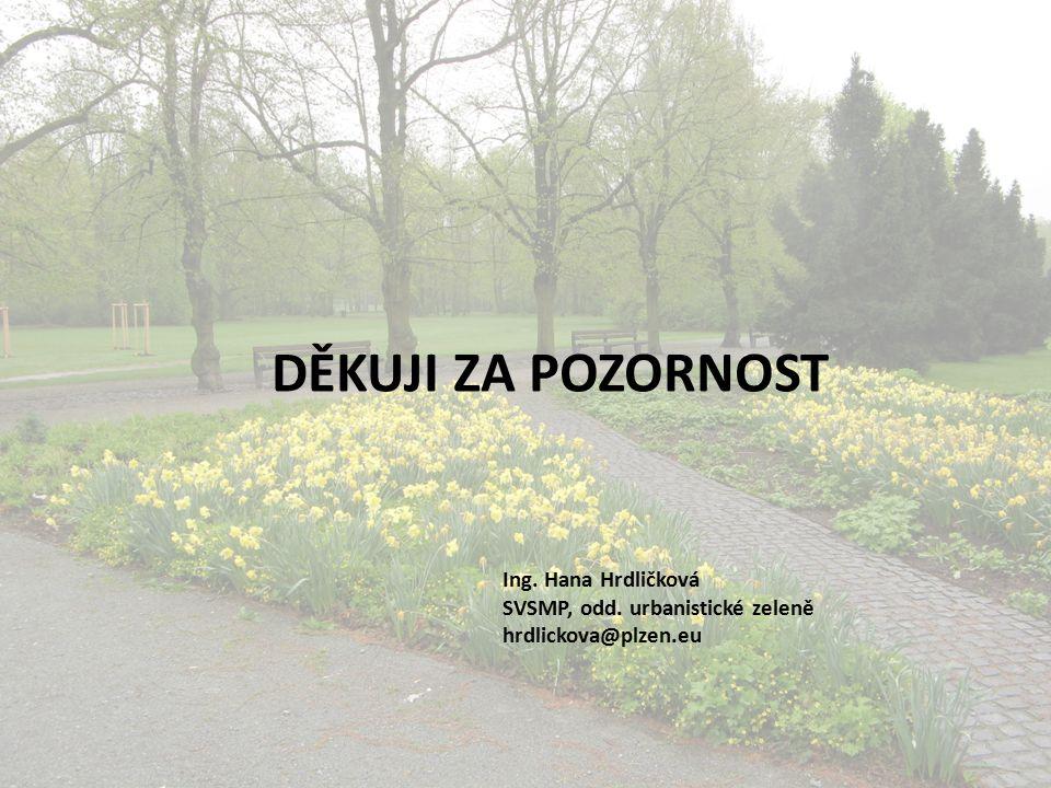 DĚKUJI ZA POZORNOST Ing. Hana Hrdličková SVSMP, odd. urbanistické zeleně hrdlickova@plzen.eu