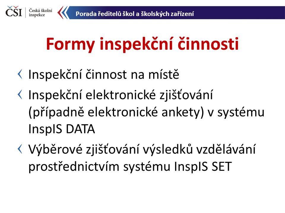 Inspekční činnost na místě Inspekční elektronické zjišťování (případně elektronické ankety) v systému InspIS DATA Výběrové zjišťování výsledků vzdělávání prostřednictvím systému InspIS SET Formy inspekční činnosti Porada ředitelů škol a školských zařízení