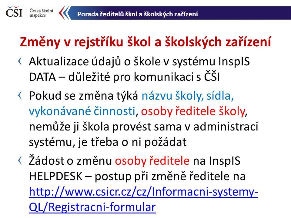 Aktualizace údajů o škole v systému InspIS DATA – důležité pro komunikaci s ČŠI Pokud se změna týká názvu školy, sídla, vykonávané činnosti, osoby ředitele školy, nemůže ji škola provést sama v administraci systému, je třeba o ni požádat Žádost o změnu osoby ředitele na InspIS HELPDESK – postup při změně ředitele na http://www.csicr.cz/cz/Informacni-systemy- QL/Registracni-formular http://www.csicr.cz/cz/Informacni-systemy- QL/Registracni-formular Změny v rejstříku škol a školských zařízení Porada ředitelů škol a školských zařízení