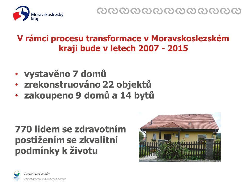 Zavedli jsme systém environmentálního řízení a auditu V rámci procesu transformace v Moravskoslezském kraji bude v letech 2007 - 2015 vystavěno 7 domů zrekonstruováno 22 objektů zakoupeno 9 domů a 14 bytů 770 lidem se zdravotním postižením se zkvalitní podmínky k životu