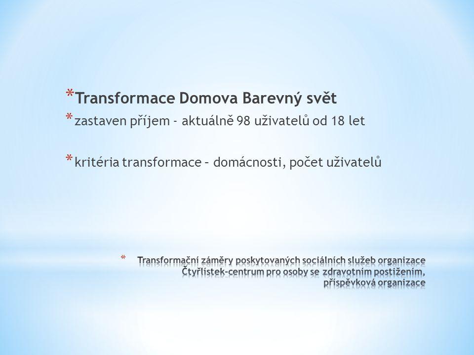 * Transformace Domova Barevný svět * zastaven příjem - aktuálně 98 uživatelů od 18 let * kritéria transformace – domácnosti, počet uživatelů