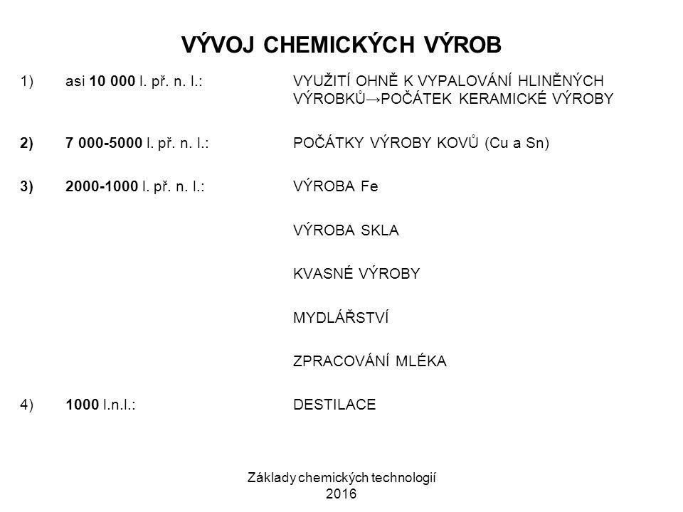 Základy chemických technologií 2016 VÝVOJ CHEMICKÝCH VÝROB 1)asi 10 000 l. př. n. l.:VYUŽITÍ OHNĚ K VYPALOVÁNÍ HLINĚNÝCH VÝROBKŮ→POČÁTEK KERAMICKÉ VÝR