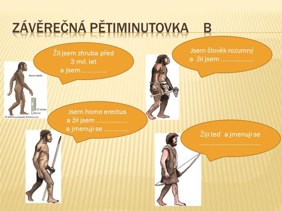 Žil jsem zhruba před 3 mil. let a jsem…………… Jsem homo erectus a žil jsem ……………… a jmenuji se …………..