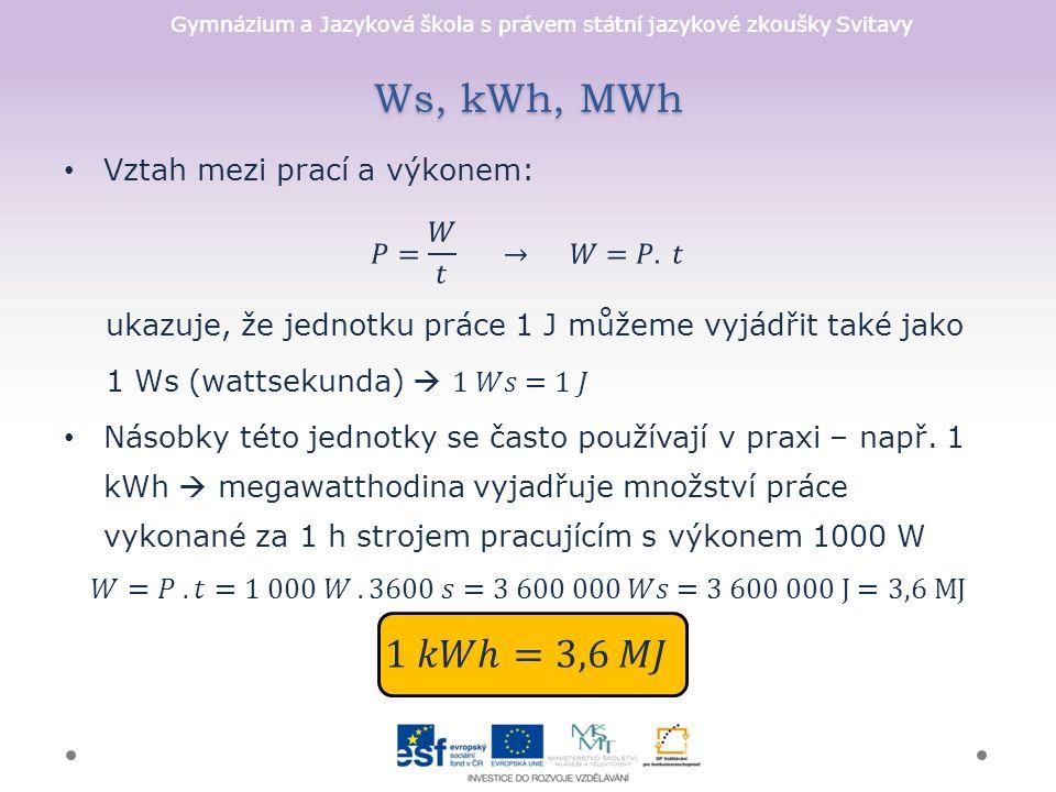Gymnázium a Jazyková škola s právem státní jazykové zkoušky Svitavy Ws, kWh, MWh