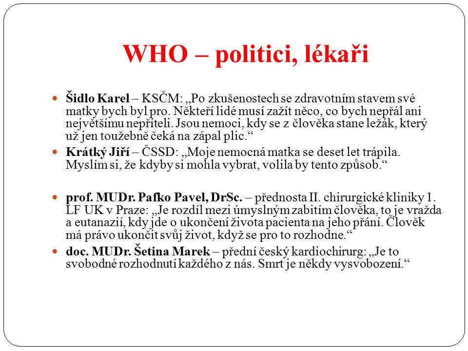 """WHO – politici, lékaři Šidlo Karel – KSČM: """"Po zkušenostech se zdravotním stavem své matky bych byl pro."""