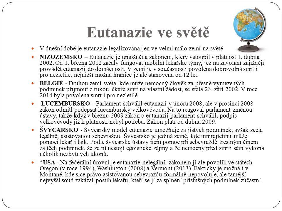 Eutanazie ve světě V dnešní době je eutanazie legalizována jen ve velmi málo zemí na světě NIZOZEMSKO – Eutanazie je umožněna zákonem, který vstoupil v platnost 1.
