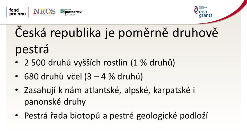 Česká republika je poměrně druhově pestrá 2 500 druhů vyšších rostlin (1 % druhů) 680 druhů včel (3 – 4 % druhů) Zasahují k nám atlantské, alpské, karpatské i panonské druhy Pestrá řada biotopů a pestré geologické podloží