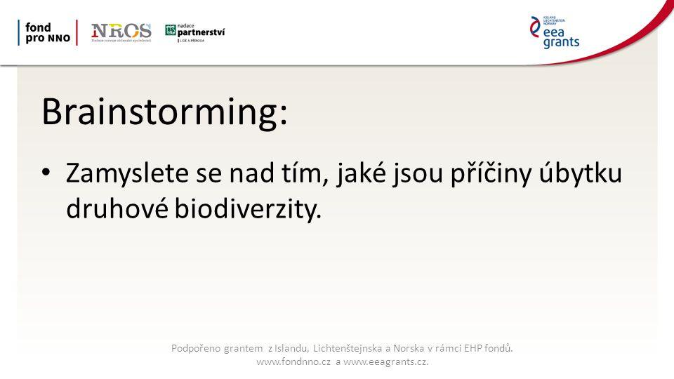 Brainstorming: Zamyslete se nad tím, jaké jsou příčiny úbytku druhové biodiverzity.