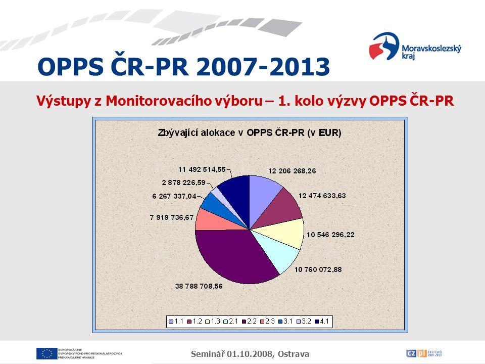 OPPS ČR-PR 2007-2013 Seminář 01.10.2008, Ostrava Výstupy z Monitorovacího výboru – 1.