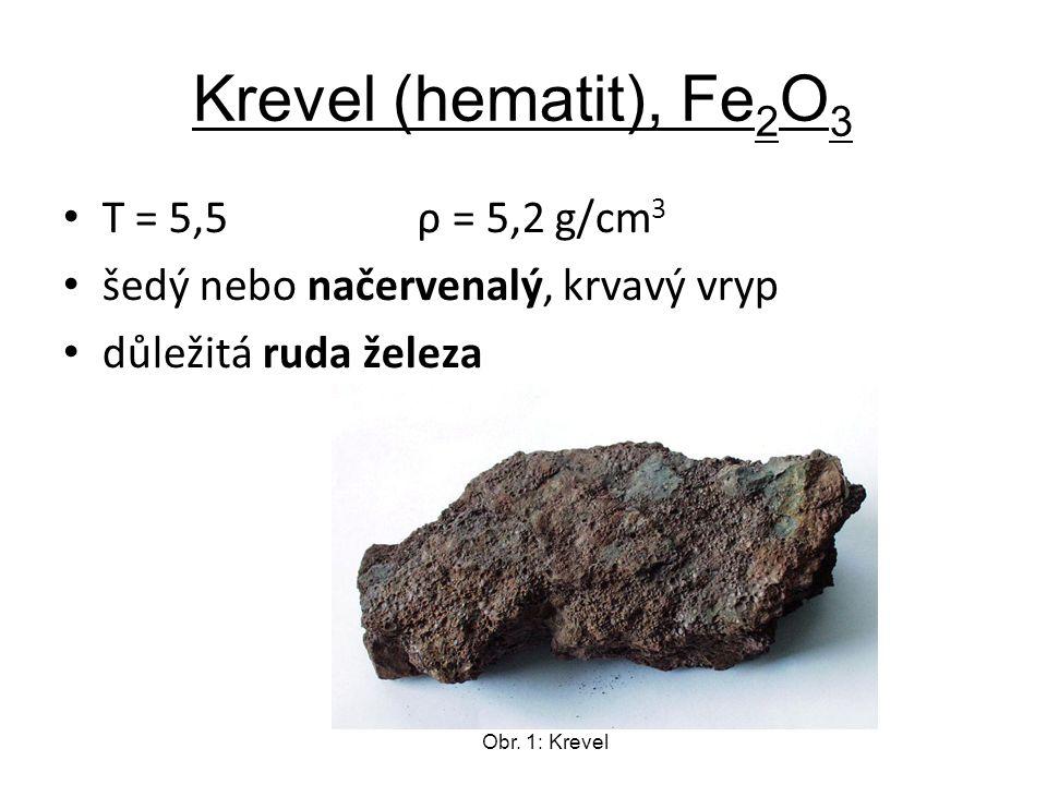 Krevel (hematit), Fe 2 O 3 T = 5,5 ρ = 5,2 g/cm 3 šedý nebo načervenalý, krvavý vryp důležitá ruda železa Obr.