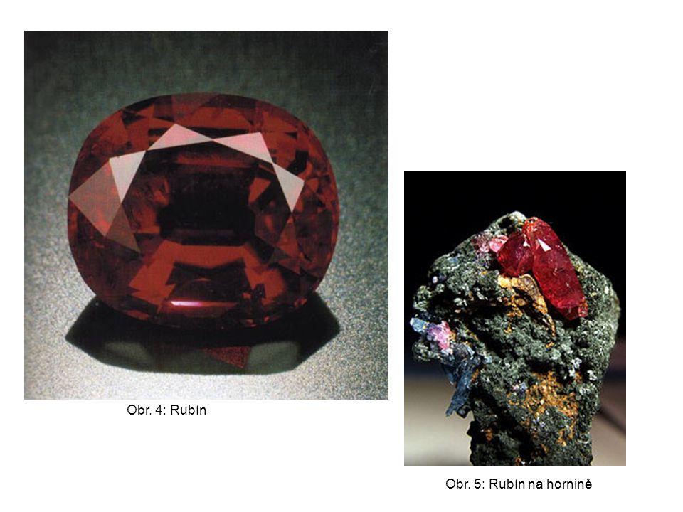 Obr. 4: Rubín Obr. 5: Rubín na hornině