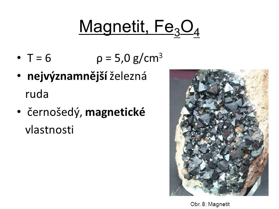 Magnetit, Fe 3 O 4 T = 6 ρ = 5,0 g/cm 3 nejvýznamnější železná ruda černošedý, magnetické vlastnosti Obr.