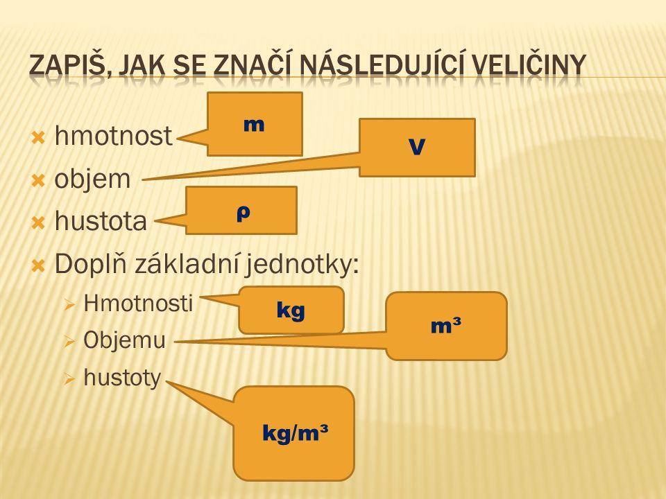  hmotnost  objem  hustota  Doplň základní jednotky:  Hmotnosti  Objemu  hustoty m V ρ kg m³ kg/m³