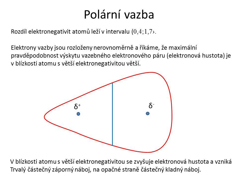 Polární vazba Rozdíl elektronegativit atomů leží v intervalu ( 0,4;1,7›.
