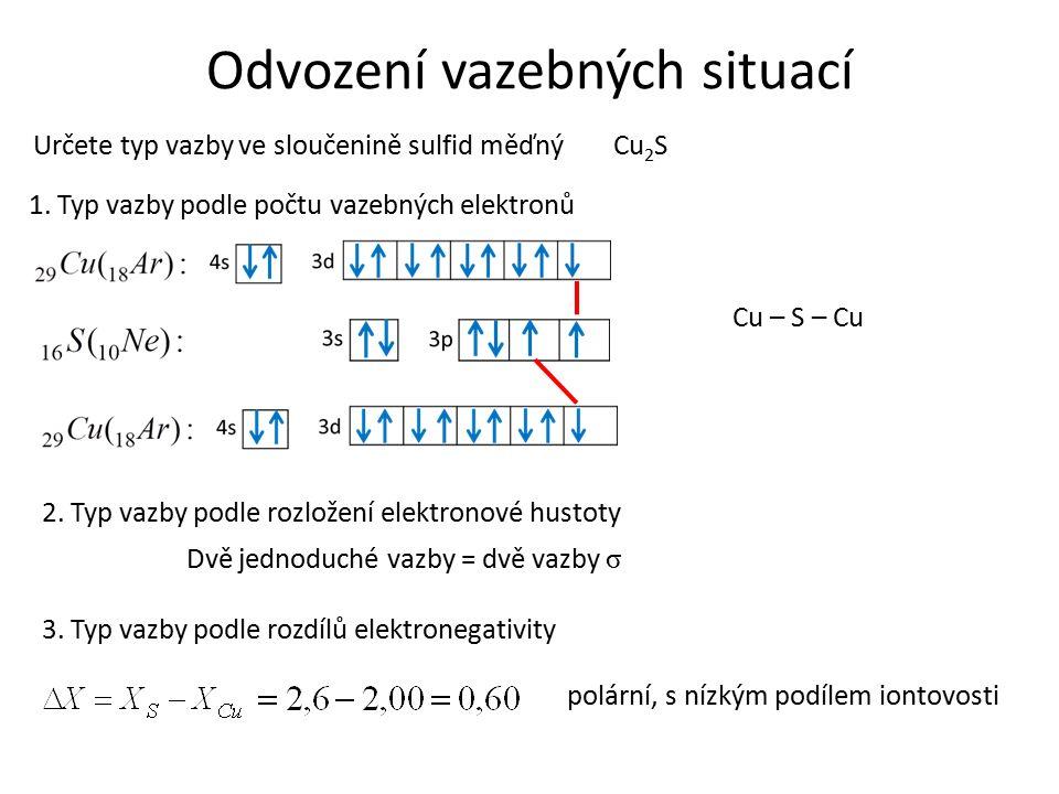 Odvození vazebných situací Určete typ vazby ve sloučenině sulfid měďný 1.
