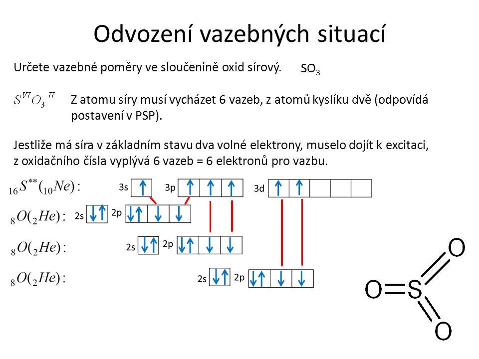 Odvození vazebných situací Určete vazebné poměry ve sloučenině oxid sírový.