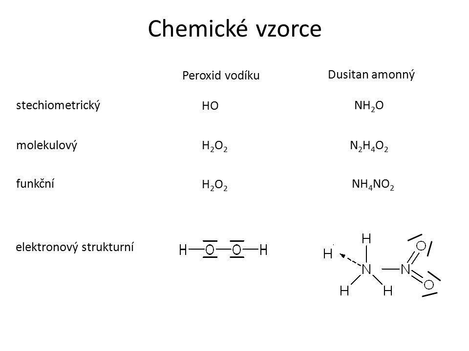Chemické vzorce Dusitan amonný stechiometrický molekulový funkčníNH 4 NO 2 Peroxid vodíku H2O2H2O2 H2O2H2O2 HO N2H4O2N2H4O2 NH 2 O elektronový strukturní