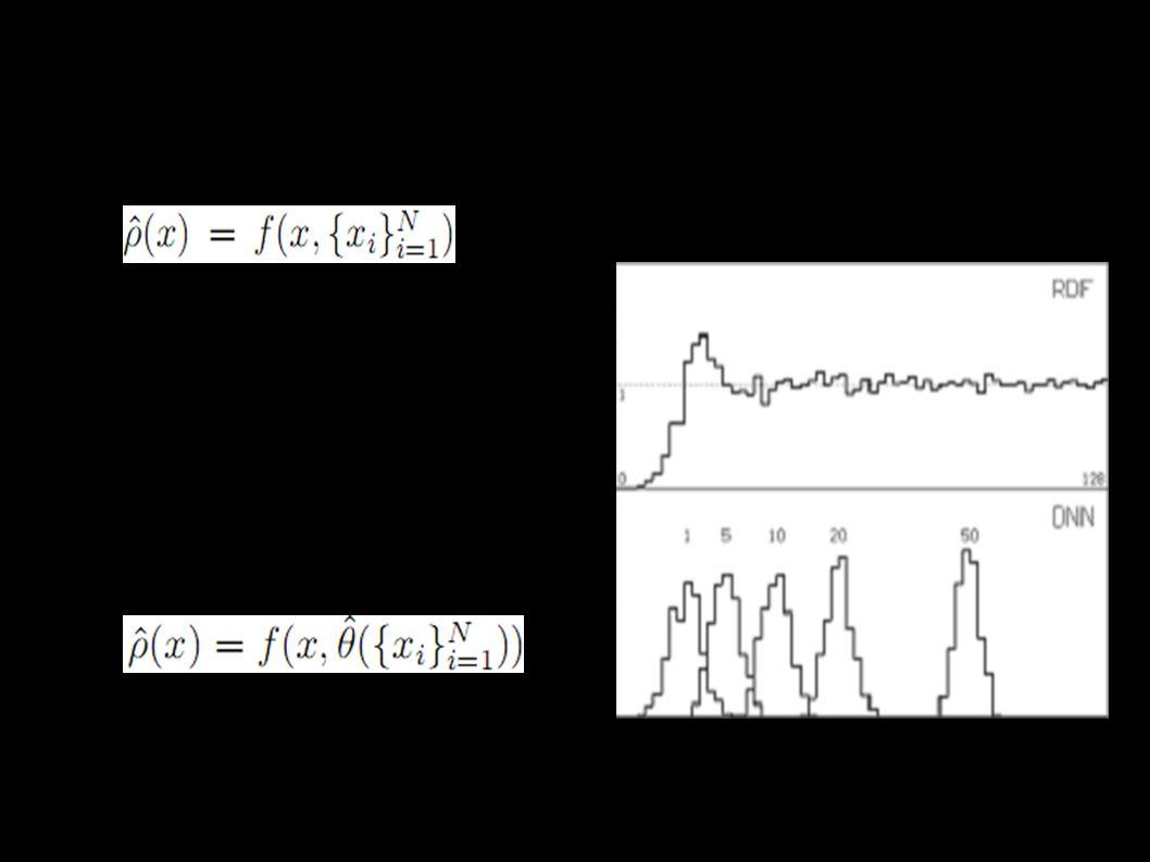 Odhady hustoty pravděpodobnosti - rozdělení ● x i - naměřené hodnoty, ρ - hustota pravděpodobnosti ● Histogram, frekvenční polynom, jádrové odhady ● θ - vektor parametrů ● Bayes, MLE