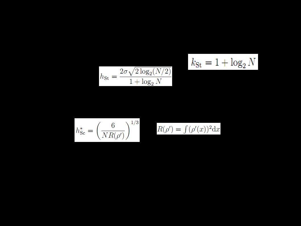 Software Matlab ● Histogram (fce hist) - není implementováno žádné pravidlo pro počet binů ● Jádrové odhady (ksdensity) - pravidla pro šířku jádra - pouze to nejjednodušší ● R - všechny zmiňovaná pravidla: hist(x,breaks= volba_pravidla ), resp.