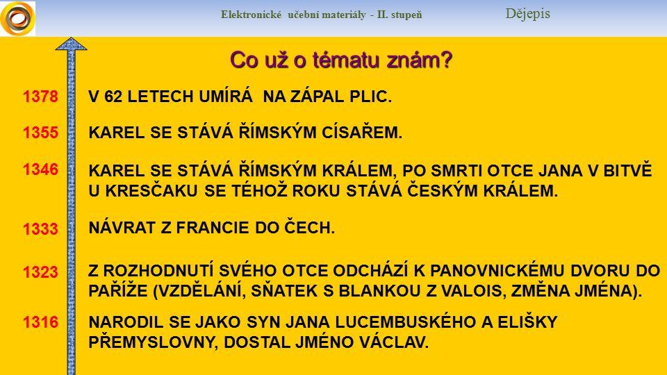 Elektronické učební materiály - II. stupeň DějepisCo už o tématu znám.