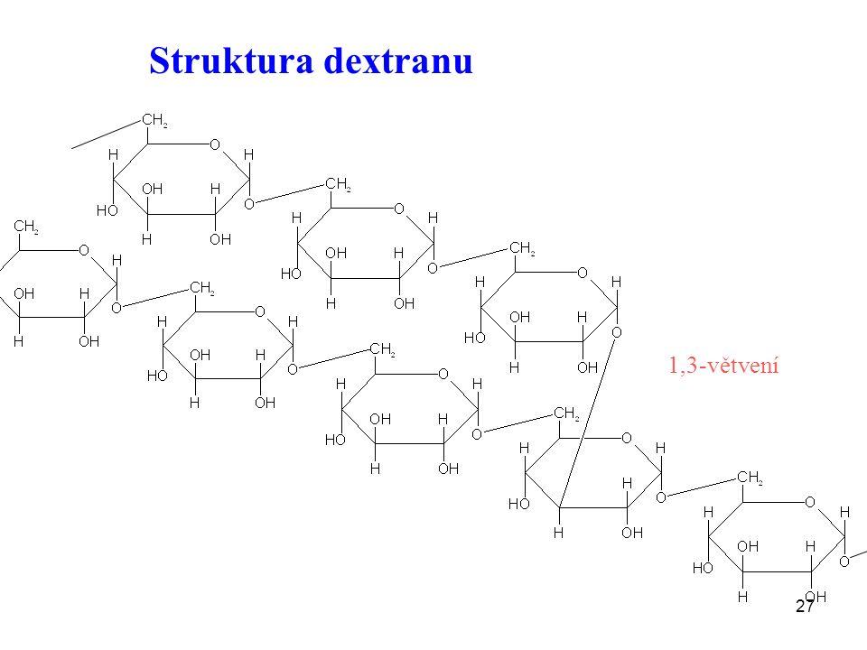 27 Struktura dextranu 1,3-větvení
