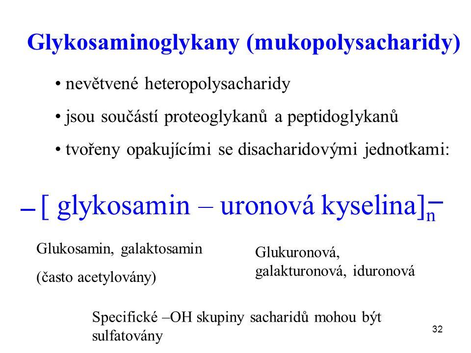 32 Glykosaminoglykany (mukopolysacharidy) nevětvené heteropolysacharidy jsou součástí proteoglykanů a peptidoglykanů tvořeny opakujícími se disacharidovými jednotkami: [ glykosamin – uronová kyselina] n Glukosamin, galaktosamin (často acetylovány) Glukuronová, galakturonová, iduronová Specifické –OH skupiny sacharidů mohou být sulfatovány