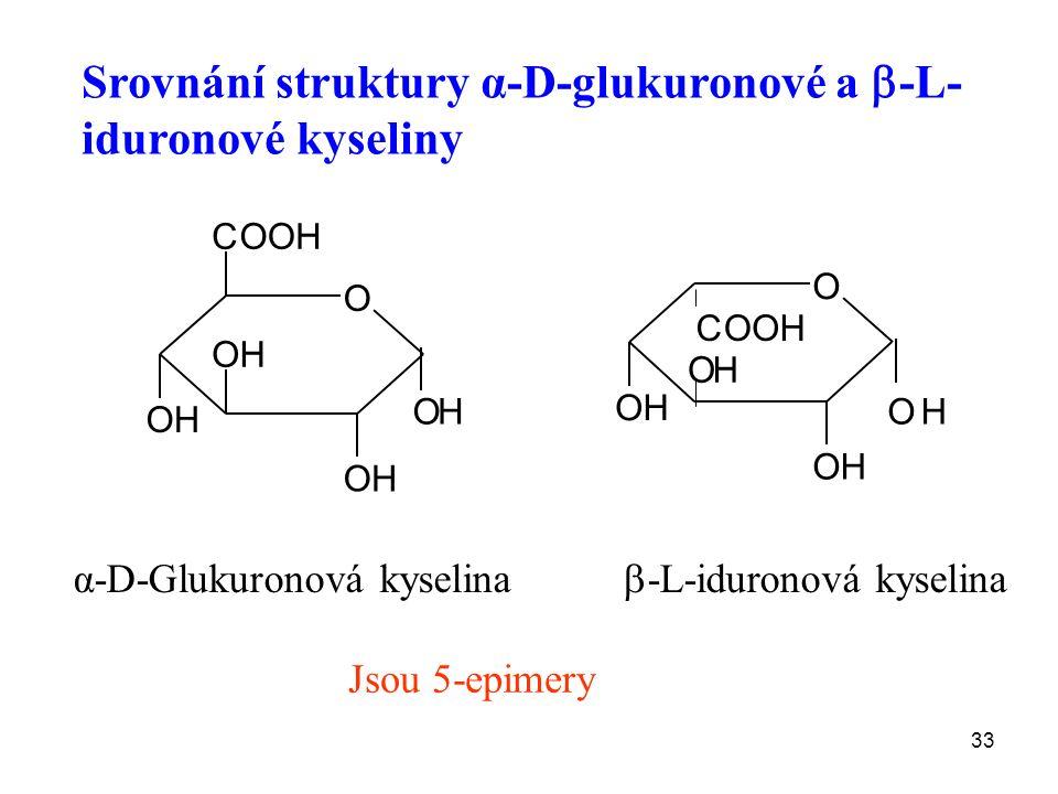 33 α-D-Glukuronová kyselina O OH OH OH OH COOH O OH OH OH OH COOH  -L-iduronová kyselina Srovnání struktury α-D-glukuronové a  -L- iduronové kyseliny Jsou 5-epimery