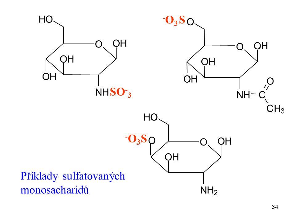 34 3 O OH NH OH OH HO SO - 3 O OH NH OH OH O C CH O -O3-O3 S O OH NH 2 OH O HO -O3S-O3S Příklady sulfatovaných monosacharidů