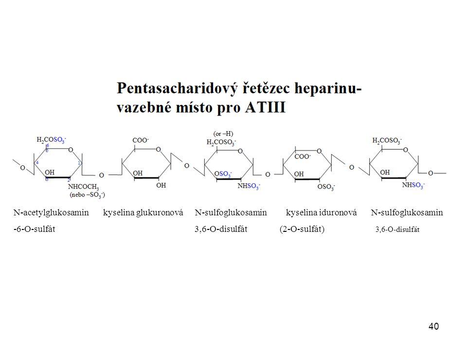 40 N-acetylglukosamin kyselina glukuronová N-sulfoglukosamin kyselina iduronová N-sulfoglukosamin -6-O-sulfát 3,6-O-disulfát (2-O-sulfát) 3,6-O-disulfát