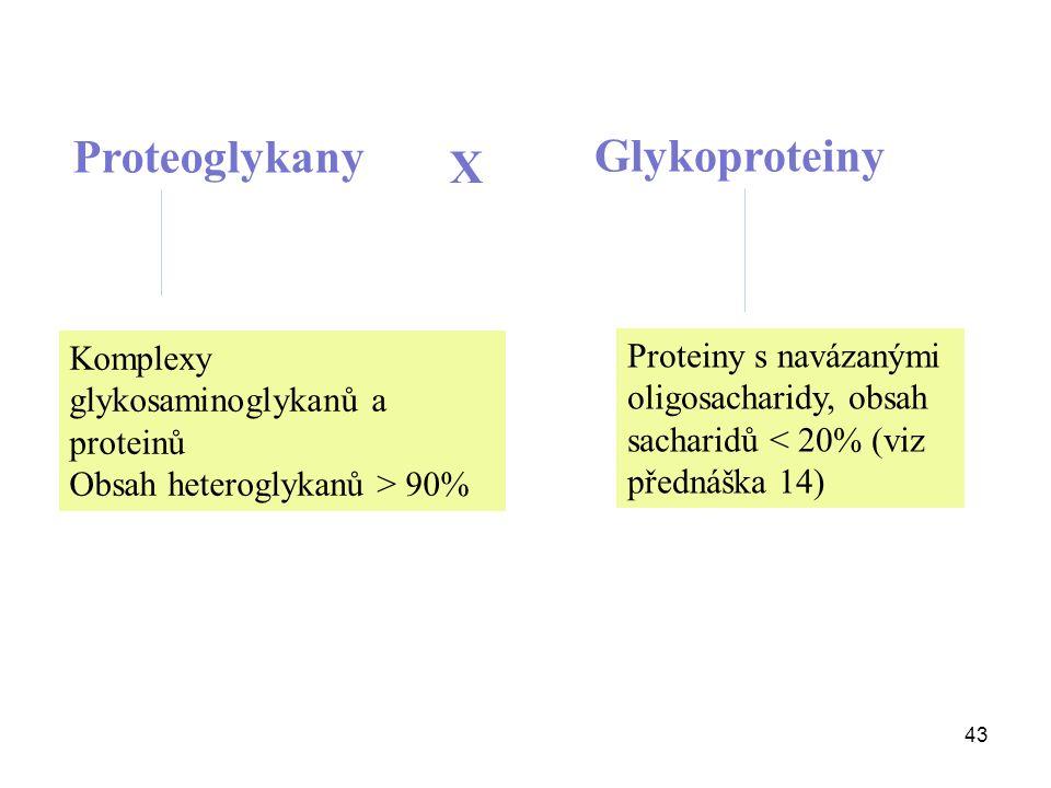 43 Proteoglykany X Glykoproteiny Komplexy glykosaminoglykanů a proteinů Obsah heteroglykanů > 90% Proteiny s navázanými oligosacharidy, obsah sacharidů < 20% (viz přednáška 14)