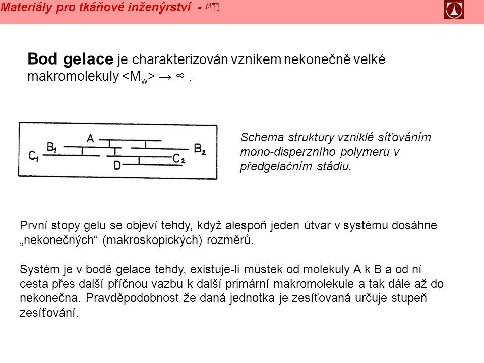 Bod gelace je charakterizován vznikem nekonečně velké makromolekuly → ∞.