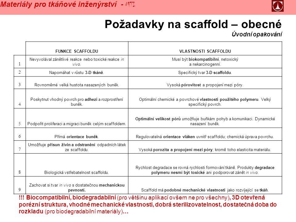 Požadavky na scaffold – obecné Úvodní opakování !!.