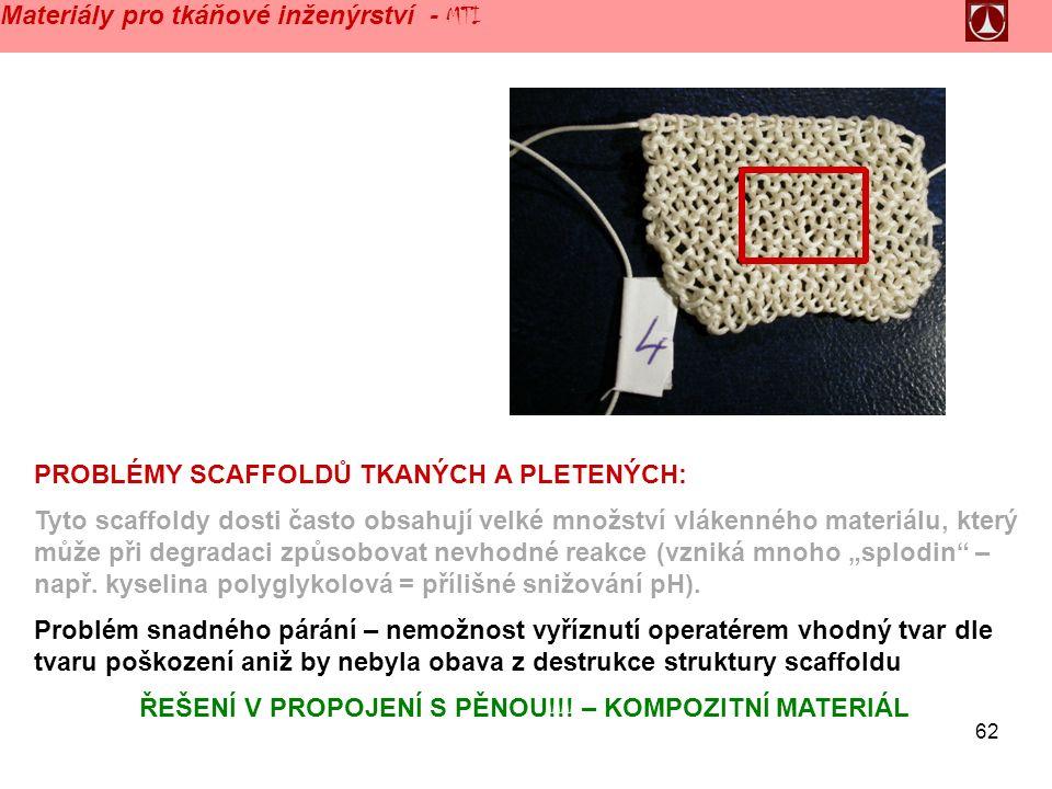 """62 Materiály pro tkáňové inženýrství - MTI PROBLÉMY SCAFFOLDŮ TKANÝCH A PLETENÝCH: Tyto scaffoldy dosti často obsahují velké množství vlákenného materiálu, který může při degradaci způsobovat nevhodné reakce (vzniká mnoho """"splodin – např."""