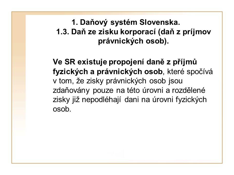 1. Daňový systém Slovenska. 1.3. Daň ze zisku korporací (daň z príjmov právnických osob).