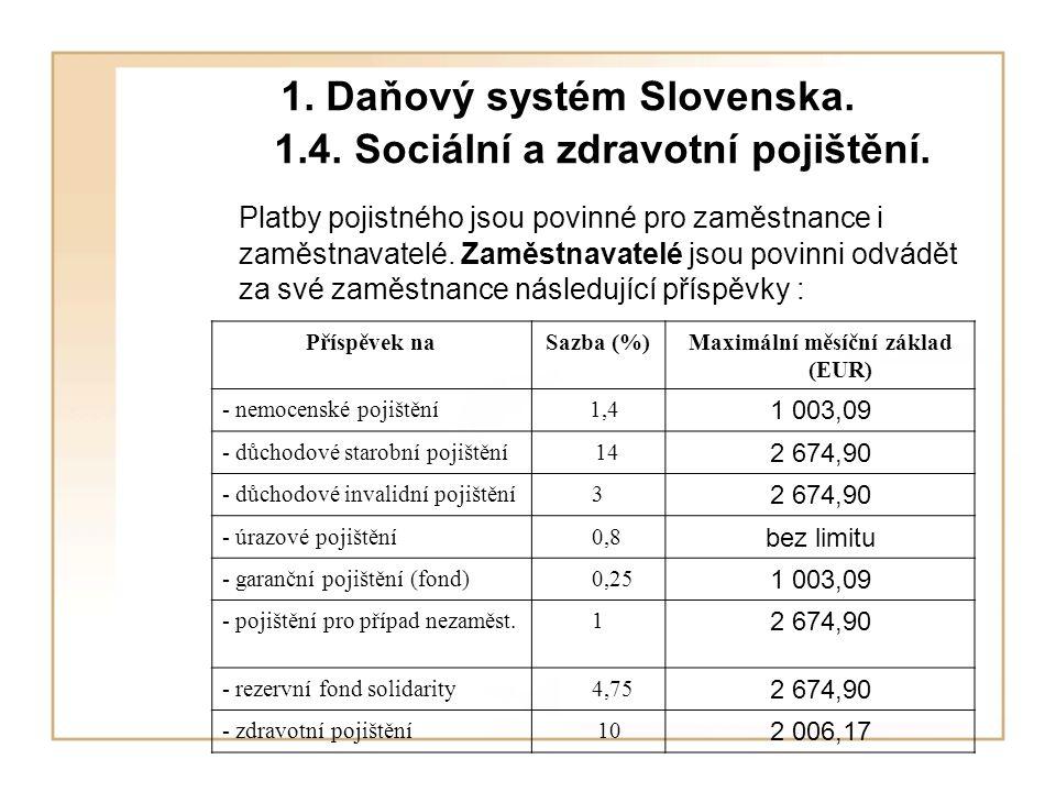 1. Daňový systém Slovenska. 1.4. Sociální a zdravotní pojištění.