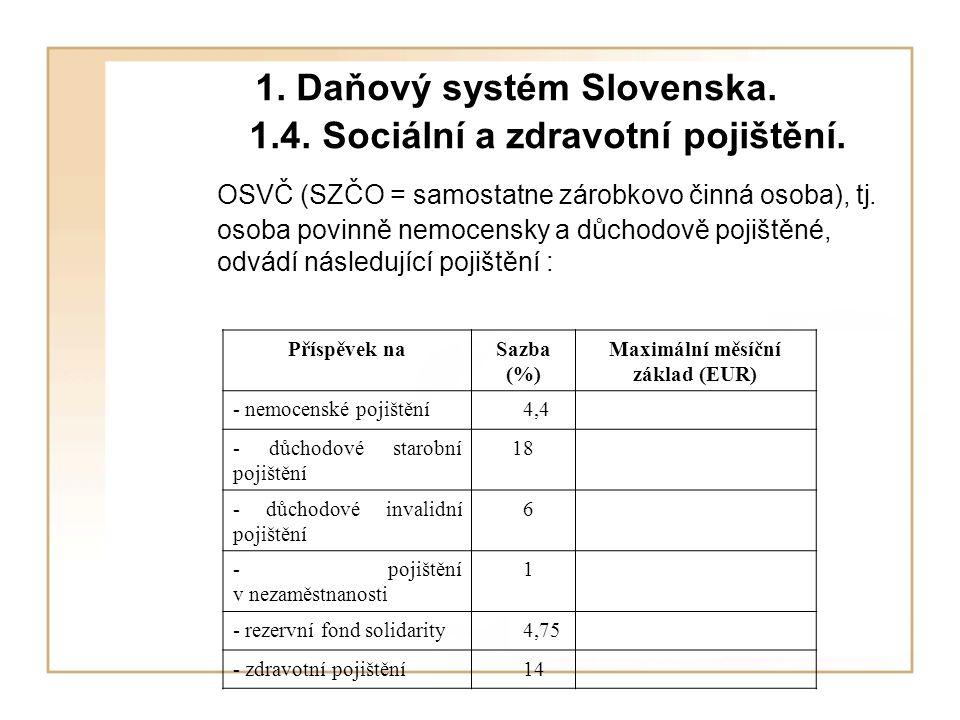 1.Daňový systém Slovenska. 1.4. Sociální a zdravotní pojištění.