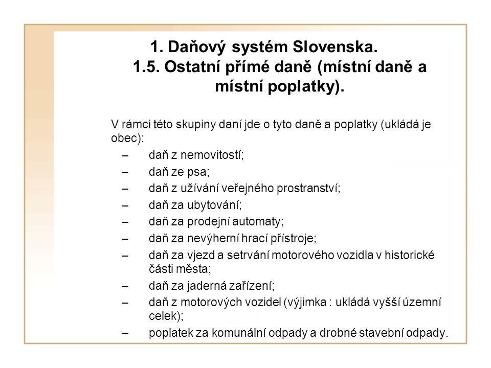 1.Daňový systém Slovenska. 1.5. Ostatní přímé daně (místní daně a místní poplatky).
