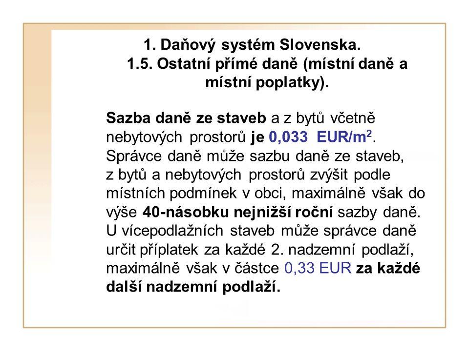 Sazba daně ze staveb a z bytů včetně nebytových prostorů je 0,033 EUR/m 2.