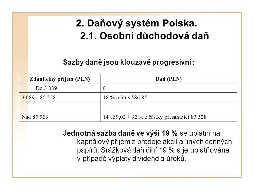 2. Daňový systém Polska. 2.1.