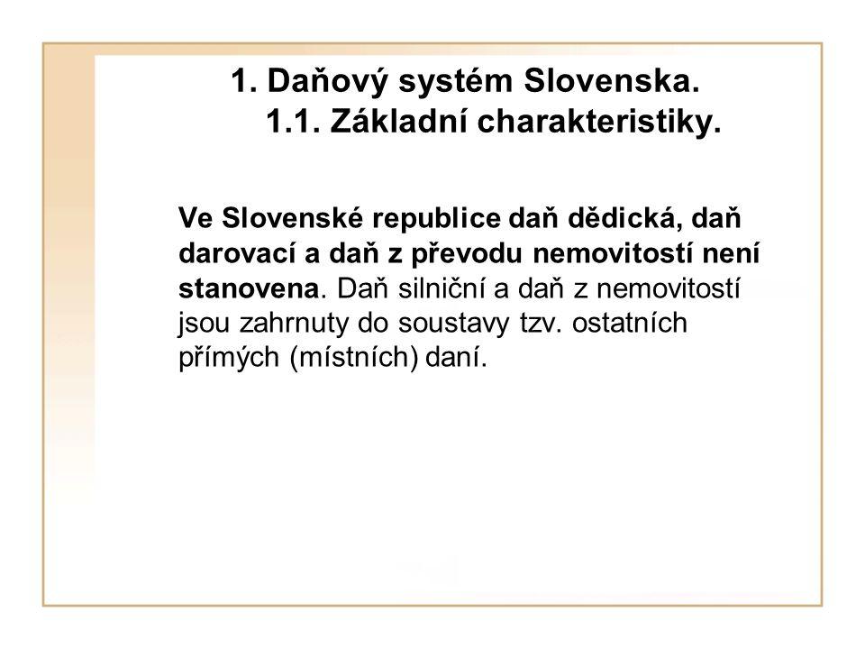 1. Daňový systém Slovenska. 1.1. Základní charakteristiky.